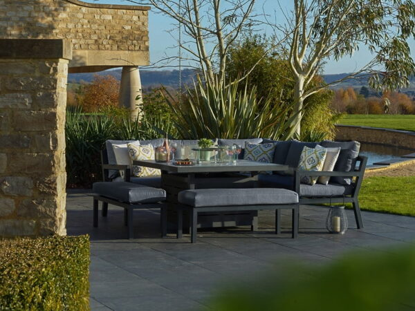 La Rochelle Modular Sofa with Square Ceramic Top Firepit Table & 2 Benches