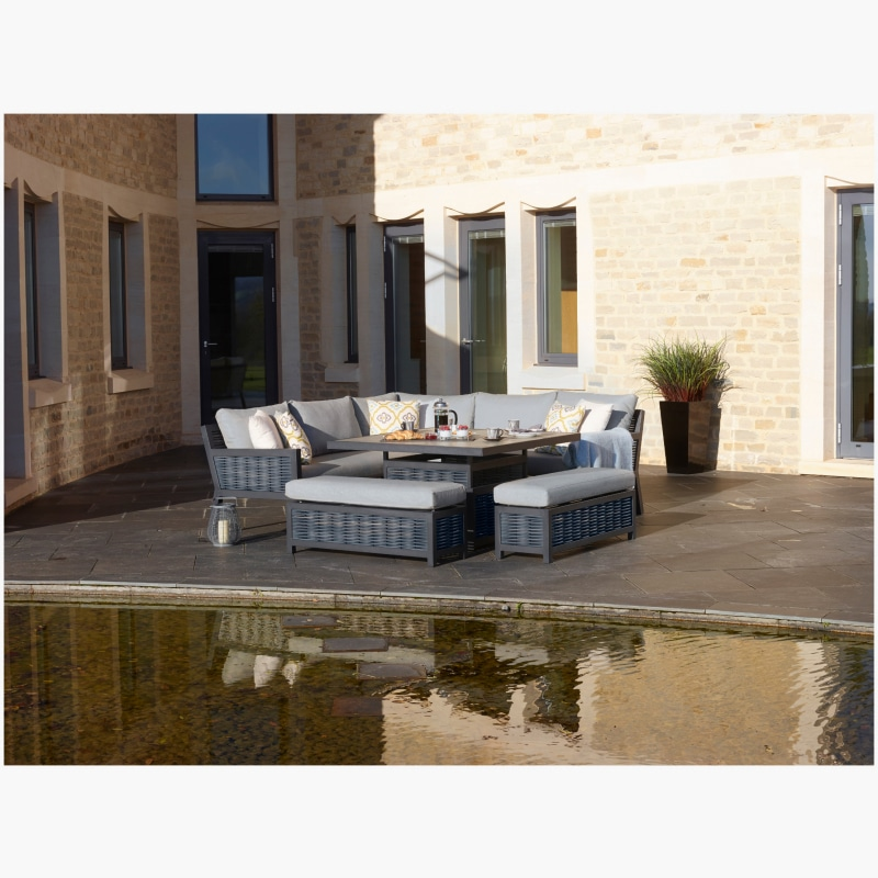 Portofino Modular Sofa with Square Ceramic Top Firepit Table & 2 Benches