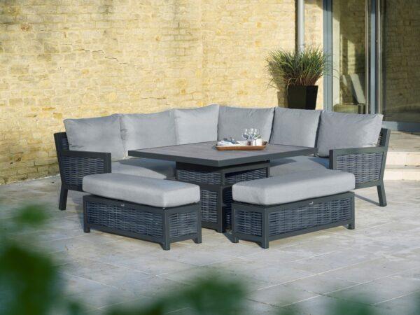 Portofino Modular Sofa with Square Adjustable Ceramic Top Table & 2 Benches